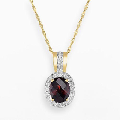 14k Gold Garnet & 3/10-ct. T.W. Diamond Halo Pendant