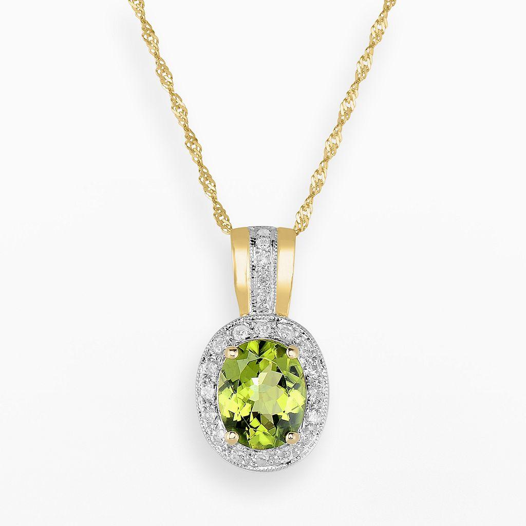 14k Gold Peridot & 3/10-ct. T.W. Diamond Halo Pendant