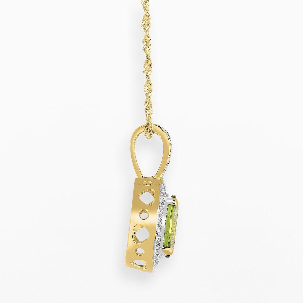 14k Gold Peridot and 3/10-ct. T.W. Diamond Halo Pendant