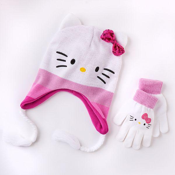 White Kitty Beanie Roblox Hello Kitty Hat Gloves Set Girls