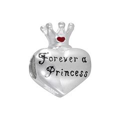 Disney Sterling Silver 'Forever a Princess' Heart & Crown Bead
