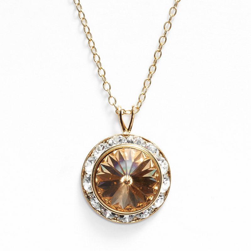 Illuminaire 14k Gold-Plated Yellow and White Crystal Halo Pendant - Made with Swarovski Elements