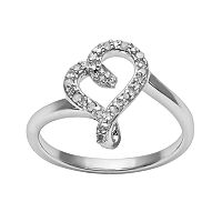 Sterling Silver 1/10 ctT.W. Diamond Swirl Heart Ring