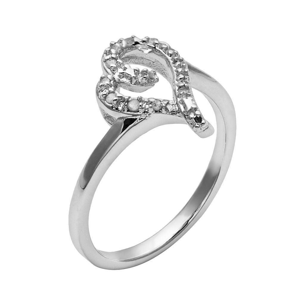 Sterling Silver 1/10-ct. T.W. Diamond Swirl Heart Ring