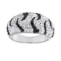 Silver-Plated Crystal Zebra Stripe Dome Ring