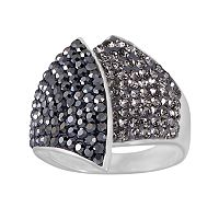 Silver-Plated Crystal Overlap Ring