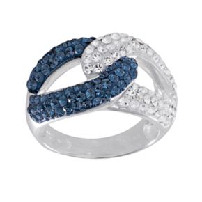 Silver-Plated Crystal Link Ring