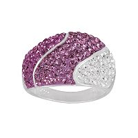 Silver-Plated Crystal Wavy Stripe Dome Ring