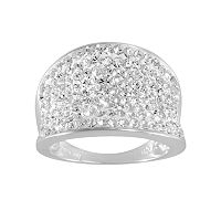 Sterling Silver-Plated Crystal Ombre Concave Ring