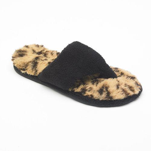 54ac83abb695 Dearfoams Leopard Terry Plush Thong Slippers