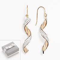 14k Gold-Bonded Sterling Silver Crystal Spiral Drop Earrings