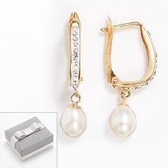 14k Gold-Bonded Sterling Silver Freshwater Cultured Pearl & Crystal U-Hoop Earrings