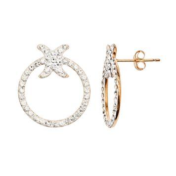 14k Gold-Bonded Sterling Silver Crystal Doorknocker Earrings