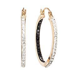 14k Gold-Bonded Sterling Silver Crystal Inside-Out Hoop Earrings