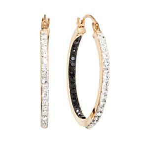14k Gold-Bonded Sterling Silver Crystal Inside-Out Hoop Earrings