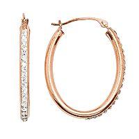 14k Gold-Bonded Sterling Silver Crystal Oval Hoop Earrings