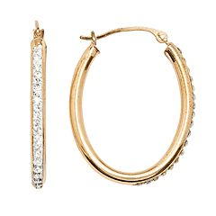 14k Gold-Bonded Sterling Silver Crystal Oval Hoop Earrings
