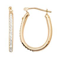 14k Gold-Bonded Sterling Silver Crystal U-Hoop Earrings