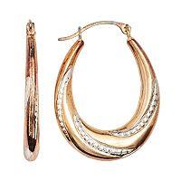 14k Gold-Bonded Sterling Silver Two Tone Twist Pear Hoop Earrings