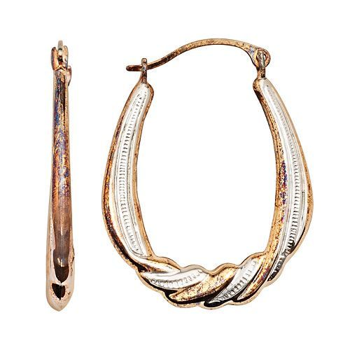 14k Gold-Bonded Sterling Silver Two Tone Draped Pear Hoop Earrings