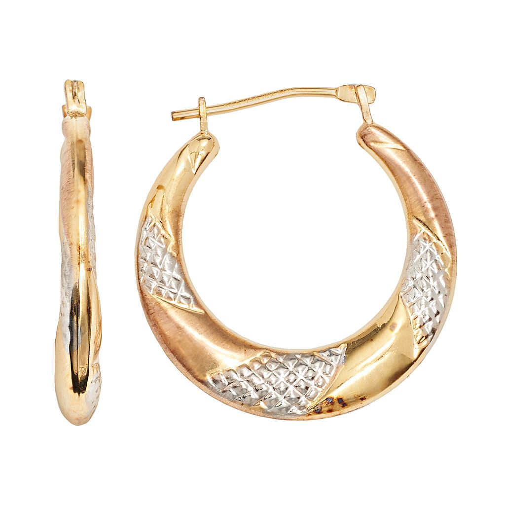14k Gold-Bonded Sterling Silver Tri-Tone Twist Hoop Earrings