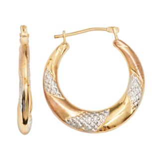14k Gold-Bonded Sterling Silver Tri-Tone Twist Hoop Earrings