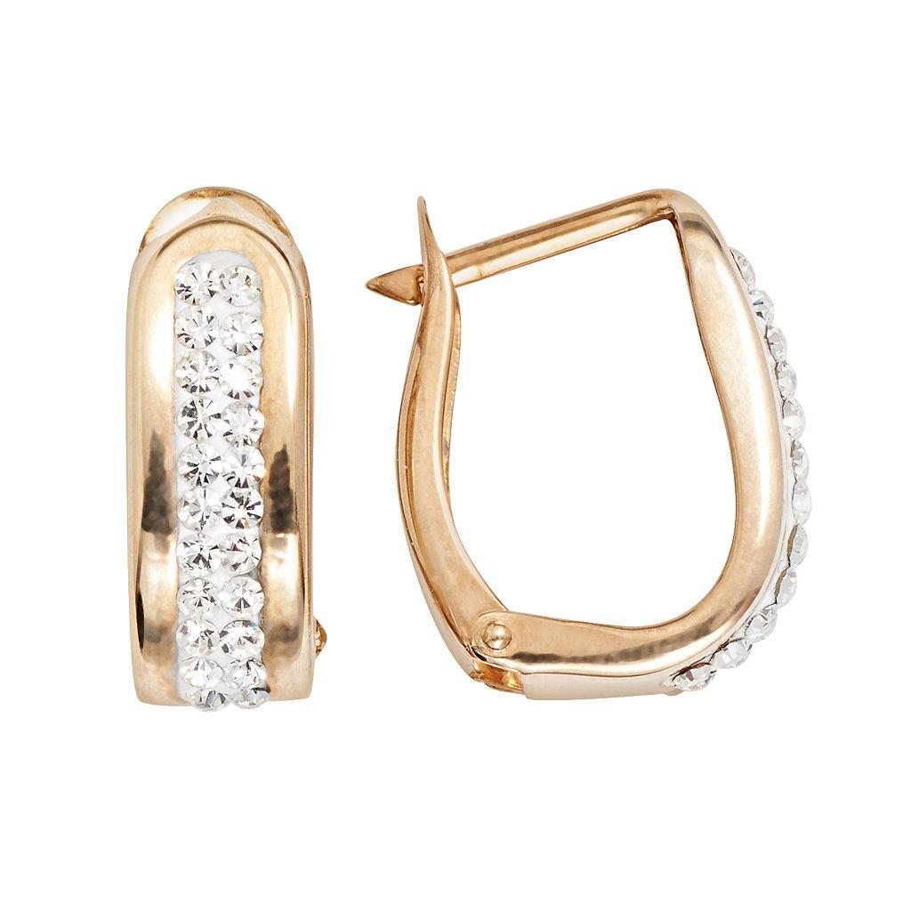 14k Gold-Bonded Sterling Silver Crystal U-Hoop Earrings