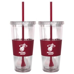 Miami Heat 2-pc. Double-Walled Straw Tumbler Set