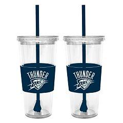 Oklahoma City Thunder 2 pc Double-Walled Straw Tumbler Set