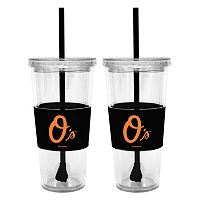 Baltimore Orioles 2-pc. Double-Walled Straw Tumbler Set