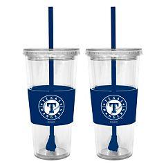 Texas Rangers 2 pc Double-Walled Straw Tumbler Set