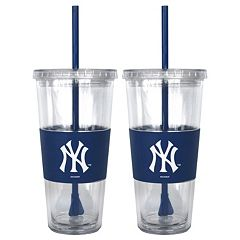 New York Yankees 2 pc Double-Walled Straw Tumbler Set