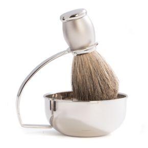 Chrome-Plated Soap Dish and Badger Shaving Brush Set
