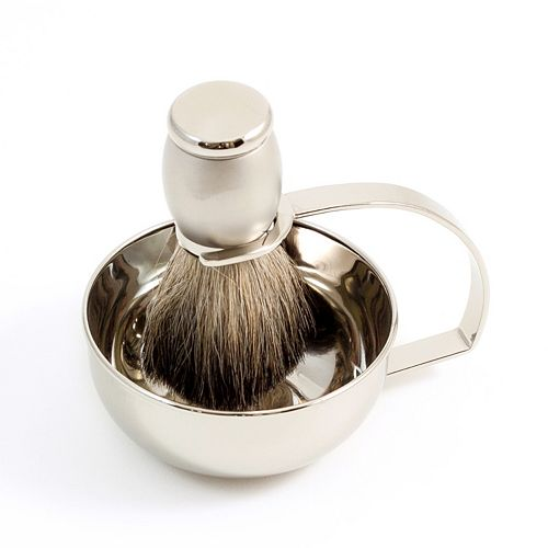 Chrome-Plated Soap Dish & Badger Shaving Brush Set