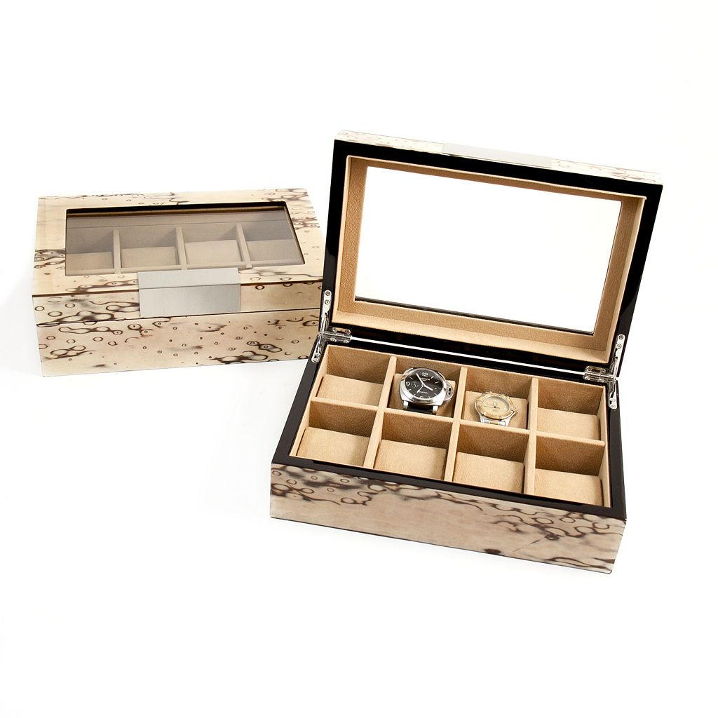 Exotic Ice Burl Wood Watch Storage Case