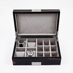 Burl Wood Watch & Cuff Link Valet Box