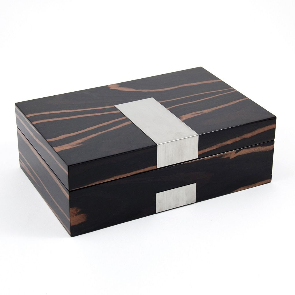 Burl Wood Watch and Cuff Link Valet Box