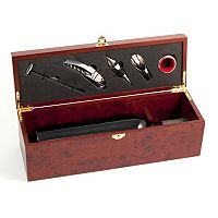 Wine Bottle Gift Box with 5 pc Bar Set