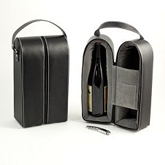 Leather Double Wine Caddy & Bar Tool Set