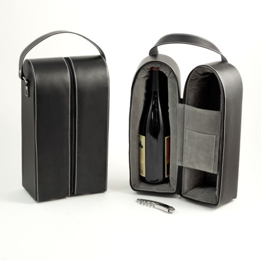 Leather Double Wine Caddy and Bar Tool Set