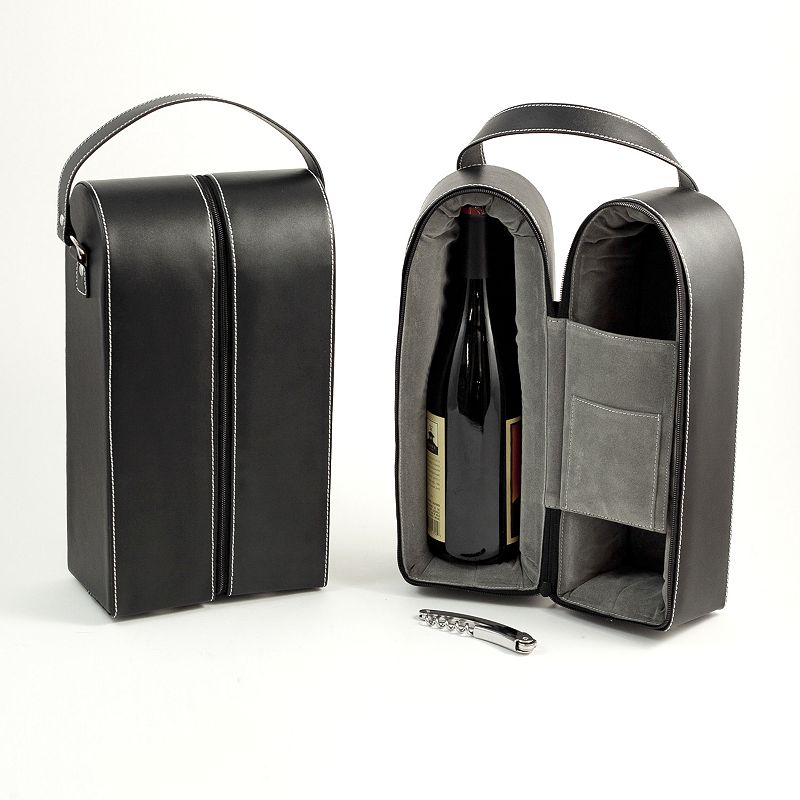 Leather Double Wine Caddy and Bar Tool Set, Black