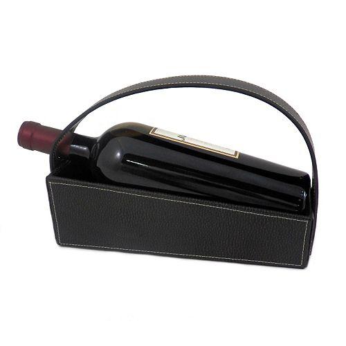 Pebbled Leather Wine Cradle