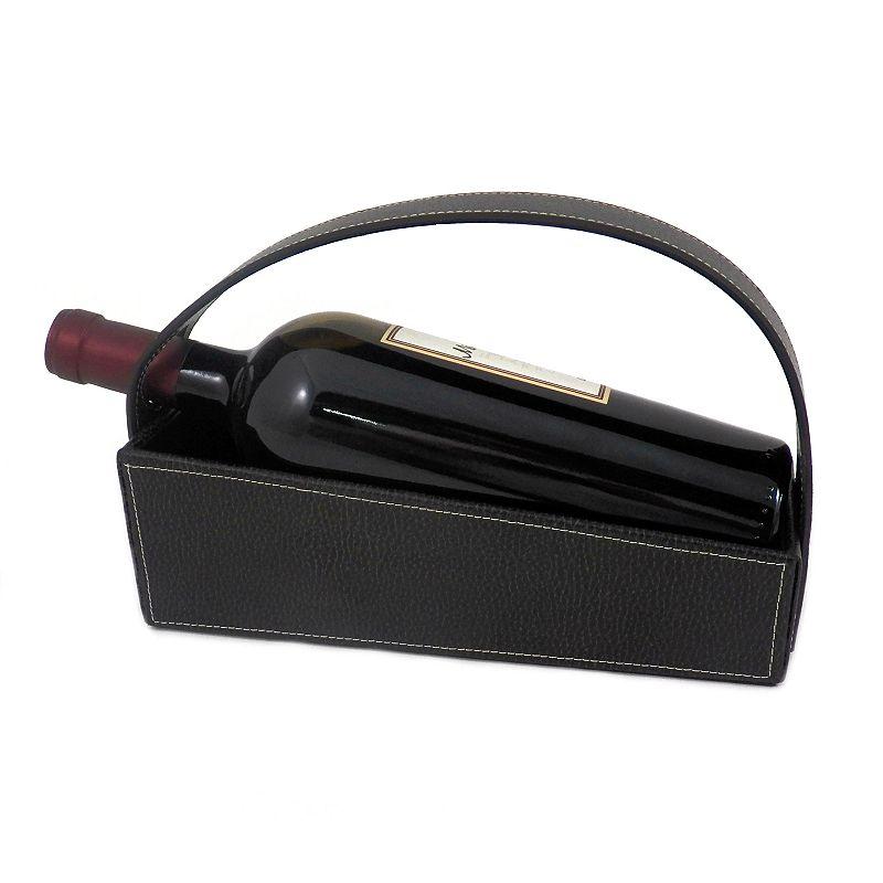 Pebbled Leather Wine Cradle, Black