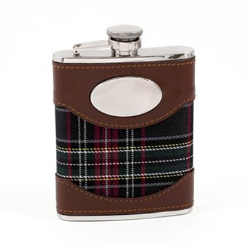 Bey-Berk Plaid-Wrapped Engravable Flask