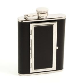 Bey-Berk Leather-Wrapped Flask With Cigarette Compartment