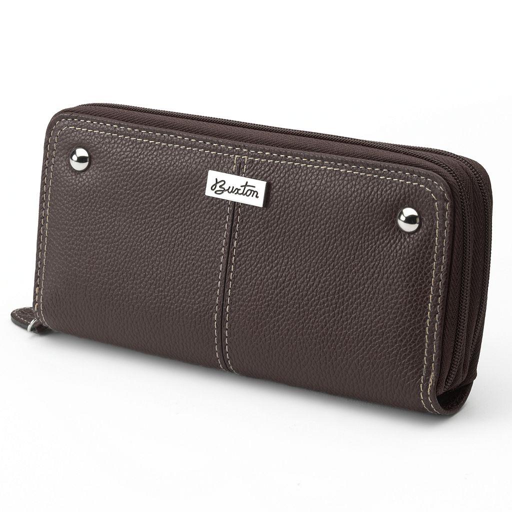 Buxton Westcott Slim Double-Zip Leather Wallet