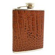 Bey-Berk 'Croco' Brown Leather Flask