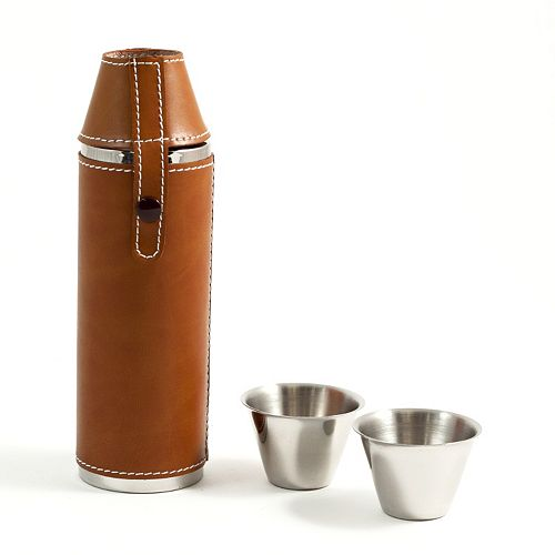Bey-Berk Tan Leather-Wrapped Cylinder Flask & Cups Set