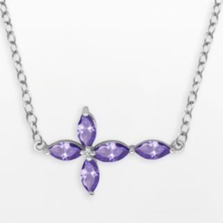Silver-Plated African Amethyst Sideways Cross Necklace