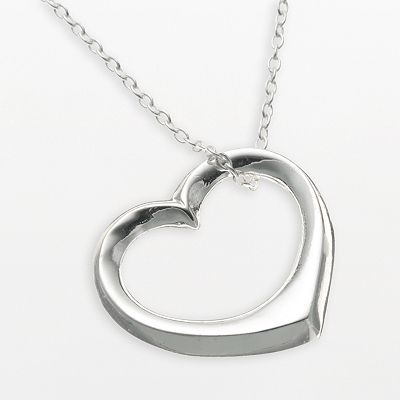 Sterling Silver Open-Heart Pendant